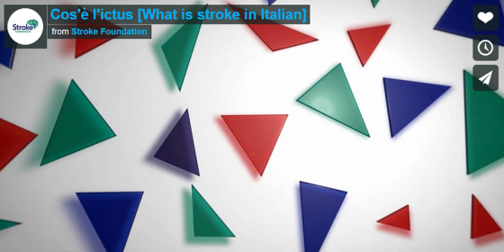 still from a stroke foundation video showing scattered red green and blue triangles