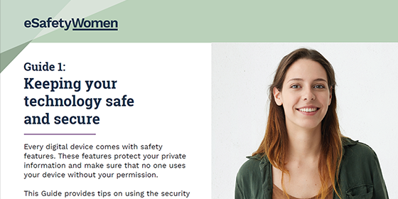 A screenshot of the esafety guide featuring a smiling woman