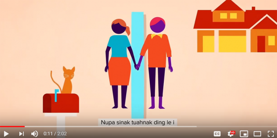 Still from a video featuring an illustration of a young man and woman holding hands