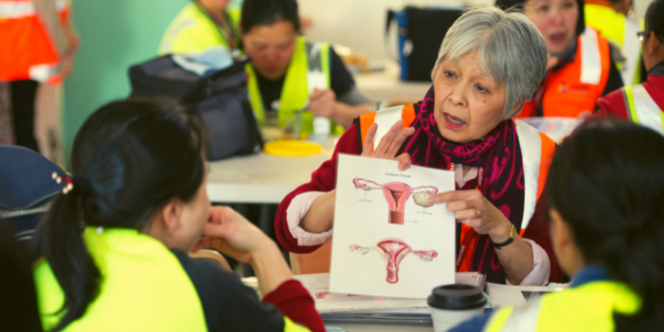 A woman in a factory environment talking to other women using a diagram of the uterus and pointing at the ovary
