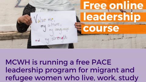 Free online leadership course written in white text on orange background. Image of lady holding a handwritten sign saying Value me, my culture, my language and my strenght.