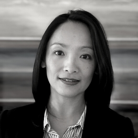 A black and white image of Fay Xu
