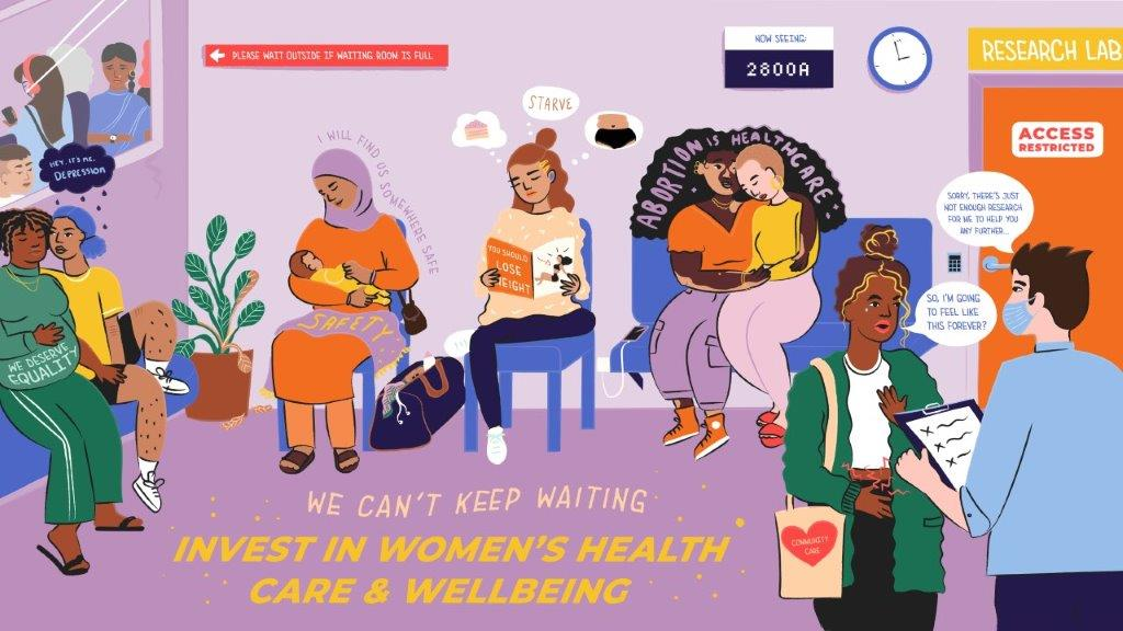 A brightly coloured illustration of a waiting room full of women from different backgrounds and walks of life, expressing different health needs. On the waiting room floor  it reads 'We can't keep waiting. Invest in women's health care and wellbeing'