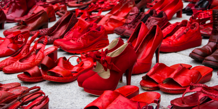The red shoes protest in Mexico in 2020 against femicide. Credit: Canva